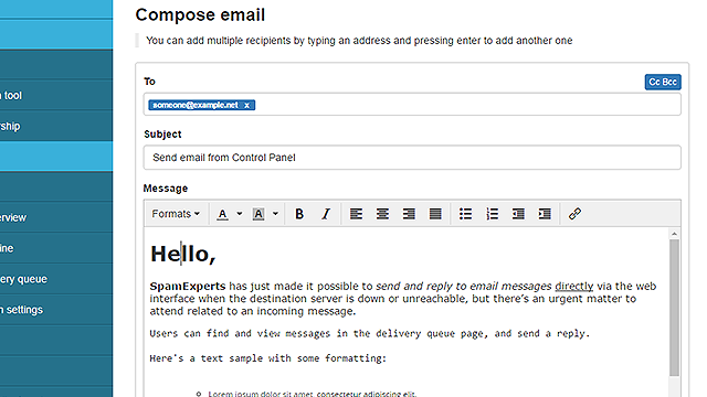 SpamExperts new business email continuity feature
