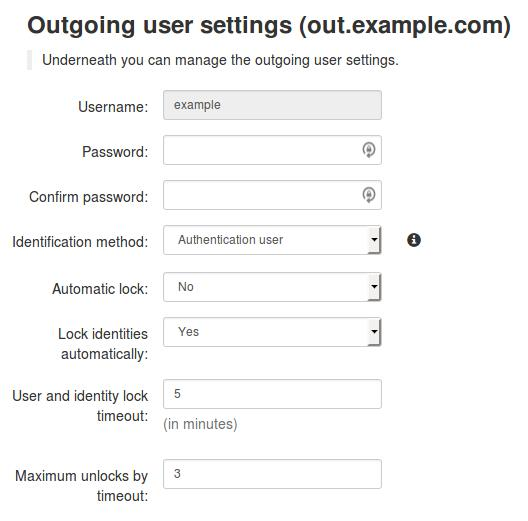 Outgoing user settings